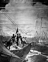 U.S. Marines and Sailors Under the Command of Commander James B. Montgomery Landed at Yerba Buena and Raised the American Flag July 9, 1846. Copy of painting by Capolino. (Marine Corps)   <br /> NARA FILE #:  127-N-308884<br /> WAR & CONFLICT BOOK #:  97