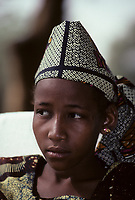 Niamey, Niger, West Africa.  Malian Songhrai, Mariama Maiga, from Ansongo, Eastern Mali.  This girl lives in Niamey, Niger.