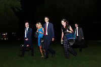 From left to right: Senior Advisor for Policy Stephen Miller, White House Press Secretary Kayleigh McEnany, and  Jared Kushner, Assistant to the President and Senior Advisor, walk on the South Lawn of the White House in Washington D.C., U.S., on Wednesday, June 24, 2020 after returning from a day trip with United States President Donald J. Trump to Arizona.  Credit: Stefani Reynolds / CNP/AdMedia