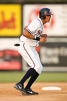 Danville Braves outfielder Concepcion Rodriguez takes a lead off of second base versus the Greeneville Astros at American Legion Field in Danville, VA, Saturday, July 1, 2006.