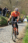 The tail end of the peloton including Adrian Saez (ESP) Euskaltel-Euskadi climbs Koppenberg during the 96th edition of The Tour of Flanders 2012, running 256.9km from Bruges to Oudenaarde, Belgium. 1st April 2012. <br /> (Photo by Eoin Clarke/NEWSFILE).