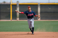 Cleveland Indians shortstop Tyler Freeman (7) makes a throw to first base during an Extended Spring Training game against the Arizona Diamondbacks at the Cleveland Indians Training Complex on May 27, 2018 in Goodyear, Arizona. (Zachary Lucy/Four Seam Images)