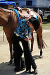 Horse and rider preparing to enter horse show at Cheshire Fair in Swanzey, New Hampshire USA