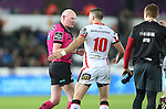 Ulster outside half Ian Humphreys in discussion with Referee Neil Paterson after his late first half try is disallowed.<br /> Guiness Pro12<br /> Ospreys v Ulster<br /> 20.12.14<br /> ©Steve Pope -SPORTINGWALES