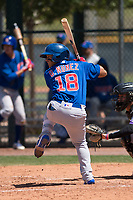 Chicago Cubs second baseman Orian Nunez (18) at bat during an Extended Spring Training game against the Colorado Rockies at Sloan Park on April 17, 2018 in Mesa, Arizona. (Zachary Lucy/Four Seam Images)
