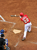 24 April 2010: Washington Nationals' outfielder Willie Harris connects against the Los Angeles Dodgers at Nationals Park in Washington, DC. The Dodgers edged out the Nationals 4-3 in a thirteen inning game. Mandatory Credit: Ed Wolfstein Photo