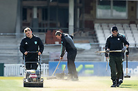 Tidying up the practice wickets during Surrey CCC vs Hampshire CCC, LV Insurance County Championship Group 2 Cricket at the Kia Oval on 1st May 2021