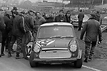 John Rhodes accident damaged mini at the1969 DAILY MAIL RACE OF CHAMPIONS meeting at Brands Hatch.