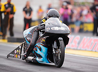 Aug 31, 2019; Clermont, IN, USA; NHRA pro stock motorcycle rider Jianna Salinas during qualifying for the US Nationals at Lucas Oil Raceway. Mandatory Credit: Mark J. Rebilas-USA TODAY Sports