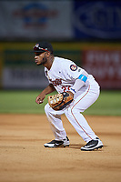 Tri-City ValleyCats first baseman Luis Encarnacion (22) during a game against the Vermont Lake Monsters on June 16, 2018 at Joseph L. Bruno Stadium in Troy, New York.  Vermont defeated Tri-City 6-2.  (Mike Janes/Four Seam Images)