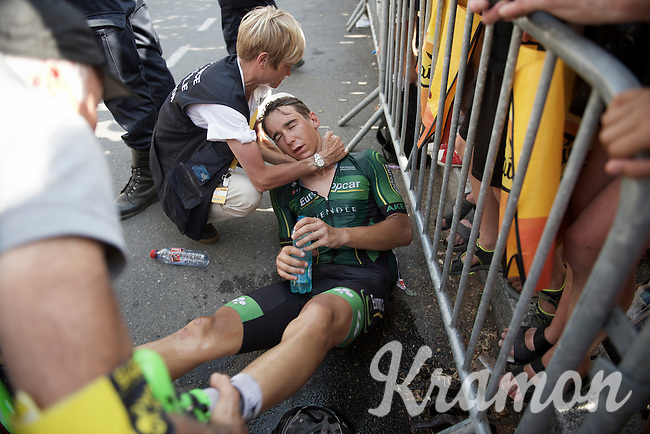 Bryan Coquard (FRA/Europcar) went unconscious for a little while after finishing and needed assistance. Racing in the 36°C heat all day taking it's toll...<br /> <br /> stage 13: Muret - Rodez<br /> 2015 Tour de France
