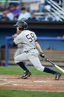 Staten Island Yankees outfielder Devyn Bolasky (58) at bat during a game against the Batavia Muckdogs on August 6, 2014 at Dwyer Stadium in Batavia, New York.  Batavia defeated Staten Island 5-3.  (Mike Janes/Four Seam Images)