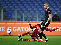 Football, Serie A: AS Roma - Bologna, Olympic stadium, Rome, April 11, 2021. <br /> Roma's Gonzalo Villar (l) in action with Bologna Valentin Antov (l) during the Italian Serie A football match between AS Roma and Bologna at Rome's Olympic stadium, Rome, on April 11, 2021.  <br /> UPDATE IMAGES PRESS/Isabella Bonotto