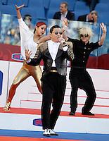 Calcio, finale di Coppa Italia: Roma vs Lazio. Roma, stadio Olimpico, 26 maggio 2013..Korean singer Psy performs prior to the start of the Italian Cup football final match between AS Roma and Lazio at Rome's Olympic stadium, 26 May 2013..UPDATE IMAGES PRESS/Isabella Bonotto....