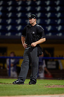 Umpire Kyle Levine during a NY-Penn League game between the Aberdeen Ironbirds  and Staten Island Yankees on August 22, 2019 at Richmond County Bank Ballpark in Staten Island, New York.  Aberdeen defeated Staten Island 4-1 in a rain shortened game.  (Mike Janes/Four Seam Images)