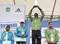 BOGOTÁ -COLOMBIA. 28-07-2013. Priscah Jeptoo (Kenia) (center) con un tiempo de 1.12:24 fuen la ganadora en la Media Maratón de Bogotá 2013 en la categoría mujeres. En esta ocasión Geoffrey Kipsang (Kenia) fue el ganador en hombres con un tiempo de 1.03:46. / Priscah Jeptoo (Kenya) (center) was the winnwer of the Half Marathon of Bogota women category with a time of 1.12:24. In this edition Geoffrey Kipsang (Kenya) with a time of 1.03:46 in men category. <br /> list of winners women: <br /> 1. Priscah Jeptoo (Kenia): 1.12:24<br /> 2. Inés Melchor (Perú): 1.14:55<br /> 3. Amare Gobena (Etiopía): 1.15:07<br /> 4. Flomena Chepchichir (Kenia): 1.15:21  Photo: VizzorImage / Str