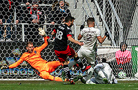 WASHINGTON, DC - FEBRUARY 29: Clint Irwin #1 of the Colorado Rapids saves on a shot by Felipe Martins #18 of DC United during a game between Colorado Rapids and D.C. United at Audi Field on February 29, 2020 in Washington, DC.
