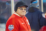 31 December 2013: Former Detroit Red Wings coach Scott Bowman on the bench during the Toronto Maple Leafs v Detroit Red Wings Alumni Showdown hockey game, at Comerica Park, in Detroit, MI.