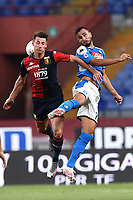 Andrea Pinamonti of Genoa and Nikola Maksimovic of SSC Napoli compete for the ball during the Serie A football match between Genoa CFC and SSC Napoli stadio Marassi in Genova ( Italy ), July 08th, 2020. Play resumes behind closed doors following the outbreak of the coronavirus disease. <br /> Photo Matteo Gribaudi / Image / Insidefoto