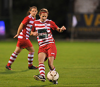 20131018 - ANTWERP , BELGIUM :  Antwerp Lisa Korevaar pictured during the female soccer match between Royal Antwerp FC Ladies and Telstar Vrouwen Ijmuiden , of the Eight' matchday in the BENELEAGUE competition. Friday 18 October 2013. PHOTO DAVID CATRY
