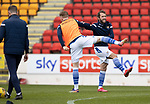 St Johnstone v Livingston…15.05.21  SPFL McDiarmid Park<br />Stevie May pictured in the warm up with James Brown<br />Picture by Graeme Hart.<br />Copyright Perthshire Picture Agency<br />Tel: 01738 623350  Mobile: 07990 594431