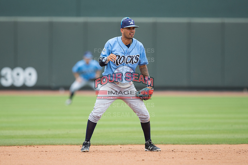 Wilmington Blue Rocks shortstop Humberto Arteaga (23) on defense against the Winston-Salem Dash at BB&T Ballpark on June 5, 2016 in Winston-Salem, North Carolina.  The Dash defeated the Blue Rocks 4-0.  (Brian Westerholt/Four Seam Images)