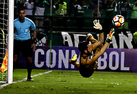 PALMIRA - COLOMBIA, 19-09-2018: Camilo Vargas, guardameta de Deportivo Cali, logra detener el disparo desde el tiro penal, durante partido entre Deportivo Cali (COL) y Liga Deportiva Universitaria de Quito (ECU), de los octavos de final, llave H, por la Copa Conmebol Sudamericana 2018, jugado en el estadio Deportivo Cali (Palmaseca) en la ciudad de Palmira. / Camilo Vargas, goalkeeper of Deportivo Cali, stops the shot from the penalty kick, during a match between Deportivo Cali (COL) and Liga Deportiva Universitaria de Quito (ECU), of eighth finals, key H, for the Copa Conmebol Sudamericana 2018, at the Deportivo Cali (Palmaseca) stadium in Palmira city. Photo: VizzorImage / Luis Ramirez / Staff.