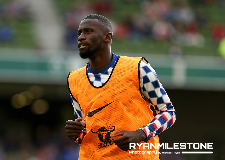 Chelsea's Antonio Rudiger during the warmup ahead of the International Champions Cup Game between Arsenal and Chelsea at the Aviva Stadium, Dublin. Photo By Michael P Ryan.