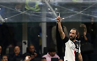 Calcio, Serie A: Inter Milano - Juventus, Giuseppe Meazza stadium, October 6 2019.<br /> Juventus' Gonzalo Higuain celebrates after scoring during the Italian Serie A football match between Inter and Juventus at Giuseppe Meazza (San Siro) stadium, October 6, 2019.<br /> UPDATE IMAGES PRESS/Isabella Bonotto