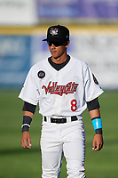 Tri-City ValleyCats center fielder Ramiro Rodriguez (8) warms up before a game against the Vermont Lake Monsters on June 16, 2018 at Joseph L. Bruno Stadium in Troy, New York.  Vermont defeated Tri-City 6-2.  (Mike Janes/Four Seam Images)