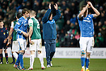 Hibs v St Johnstone...30.01.16   Utilita Scottish League Cup Semi-Final, Tynecastle..<br /> Tommy Wright applauds the fans at full time<br /> Picture by Graeme Hart.<br /> Copyright Perthshire Picture Agency<br /> Tel: 01738 623350  Mobile: 07990 594431