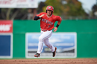 Batavia Muckdogs right fielder Michael Donadio (7) runs the bases during a game against the Auburn Doubledays on September 2, 2018 at Dwyer Stadium in Batavia, New York.  Batavia defeated Auburn 5-4.  (Mike Janes/Four Seam Images)