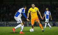 Matt Bloomfield of Wycombe Wanderers takes on Daniel Leadbitter  of Bristol Rovers during the Johnstone's Paint Trophy match between Bristol Rovers and Wycombe Wanderers at the Memorial Stadium, Bristol, England on 6 October 2015. Photo by Andy Rowland.