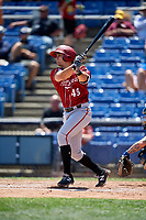 Altoona Curve catcher Christian Kelley (49) hits an RBI single during a game against the Binghamton Rumble Ponies on June 14, 2018 at NYSEG Stadium in Binghamton, New York.  Altoona defeated Binghamton 9-2.  (Mike Janes/Four Seam Images)