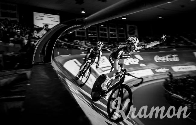 Iljo Keisse (BEL/Deceuninck-QuickStep) searching for some crowd support<br /> <br /> 500m TT<br /> zesdaagse Gent 2019 - 2019 Ghent 6 (BEL)<br /> day 3<br /> <br /> ©kramon