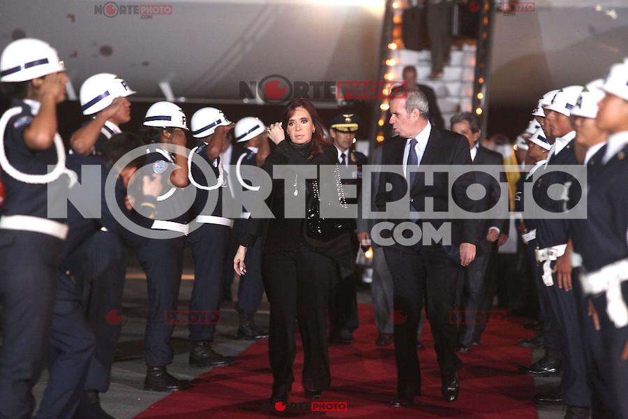 LIMA,PERÚ-18/04/2013. Arribo del Presidente de Argentina, Cristina Fernández, para la reunión UNASUR en Palacio de Gobierno. <br /> © ANDINA/OscarFarje/NortePhoto