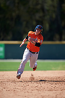 Baltimore Orioles Steve Laurino (31) runs the bases during a minor league Spring Training game against the Minnesota Twins on March 17, 2017 at the Buck O'Neil Baseball Complex in Sarasota, Florida.  (Mike Janes/Four Seam Images)