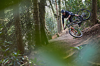 Bernard Kerr riding a Pivot mtb  . Rogate Downhill . Hampshire / Sussex border. April 2019.