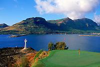 No. 16 hole on the Kiele Course at Kauai Lagoons, set against a backdrop of Nawiliwili Bay