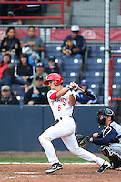 Max Pentecost #6 of the Vancouver Canadians bats against the Hillsboro Hops at Nat Bailey Stadium on July 24, 2014 in Vancouver, British Columbia. Hillsboro defeated Vancouver, 7-3. (Larry Goren/Four Seam Images)