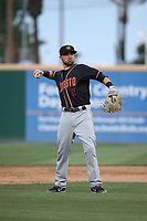 Jordan Cowan (11) of the Modesto Nuts throws during a game against the Rancho Cucamonga Quakes at LoanMart Field on August 1, 2017 in Rancho Cucamonga, California. Rancho Cucamonga defeated Modesto, 2-1. (Larry Goren/Four Seam Images)