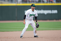 Dayton Dragons third baseman John Sansone (4) on defense against the West Michigan Whitecaps at Fifth Third Field on May 29, 2017 in Dayton, Ohio.  The Dragons defeated the Whitecaps 4-2.  (Brian Westerholt/Four Seam Images)