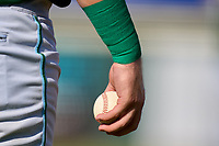 Daytona Tortugas Garrett Wolforth (25) gripping a baseball in between innings during a game against the Bradenton Marauders on June 9, 2021 at LECOM Park in Bradenton, Florida.  (Mike Janes/Four Seam Images)