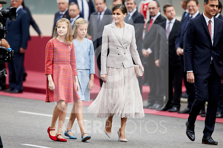 Queen Letizia of Spain, Princess Leonor of Spain and Princess Sofia of Spain attends to Spanish National Day military parade in Madrid, Spain. October 12, 2018. (ALTERPHOTOS/A. Perez Meca)