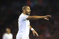 Ashley Williams directs his players during the Barclays Premier League Match between Liverpool and Swansea City played at Anfield, Liverpool on 29th November 2015