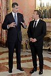 King Felipe VI of Spain (l), receives in the Royal Palace the President of the French Republic Emmanuel Macron. July 26,2018. (ALTERPHOTOS/Acero)