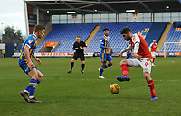 Fleetwood Town's Ched Evans under pressure from Shrewsbury Town's Greg Docherty<br /> <br /> Photographer Kevin Barnes/CameraSport<br /> <br /> The EFL Sky Bet League One - Shrewsbury Town v Fleetwood Town - Tuesday 1st January 2019 - New Meadow - Shrewsbury<br /> <br /> World Copyright © 2019 CameraSport. All rights reserved. 43 Linden Ave. Countesthorpe. Leicester. England. LE8 5PG - Tel: +44 (0) 116 277 4147 - admin@camerasport.com - www.camerasport.com