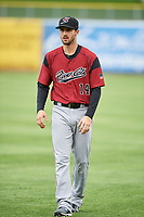 Steven Duggar (14) of the Sacramento River Cats before the game against the Salt Lake Bees at Smith's Ballpark on April 19, 2018 in Salt Lake City, Utah. Salt Lake defeated Sacramento 10-7. (Stephen Smith/Four Seam Images)