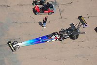 Apr. 28, 2012; Baytown, TX, USA: Aerial view of NHRA top fuel dragster driver Cory McClenathan during qualifying for the Spring Nationals at Royal Purple Raceway. Mandatory Credit: Mark J. Rebilas-