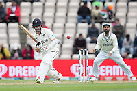 Kane Williamson, New Zealand pushes defensively into the  on side during India vs New Zealand, ICC World Test Championship Final Cricket at The Hampshire Bowl on 22nd June 2021